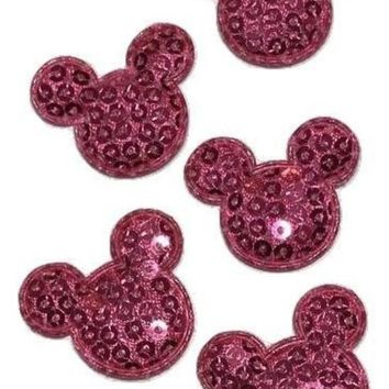 """Hot pink sequin mouse head 1 1/8"""" padded appliqué"""