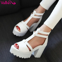 VALLKIN Platform Sandals High heel Ankle Wrap Shoes New Women Fashion PU Casual Summer Sandals Size 34-43