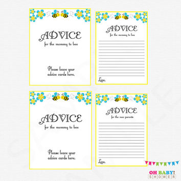 Blue Bee Baby Shower, Advice for Mommy To Bee, Bumble Bee Baby Shower, Bee Advice Cards, Honey Bee Baby Shower, Baby Boy, Printable, BB01