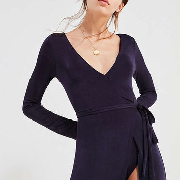 UO Studio Bodysuit Wrap Maxi Dress | Urban Outfitters
