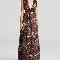 Alice + Olivia Maxi Dress - Triss Romantic Floral Silk