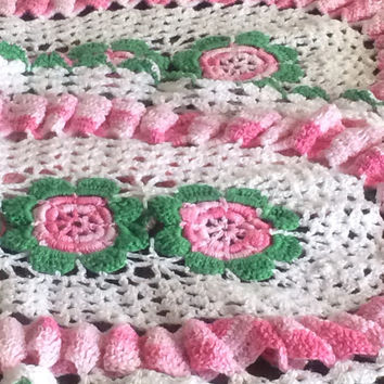 Vintage Hand Crochet Doilies Set Two Oval With Pink Roses Green Leaves