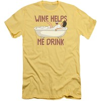 Bobs Burgers - Wine Helps Premuim Canvas Adult Slim Fit 30/1