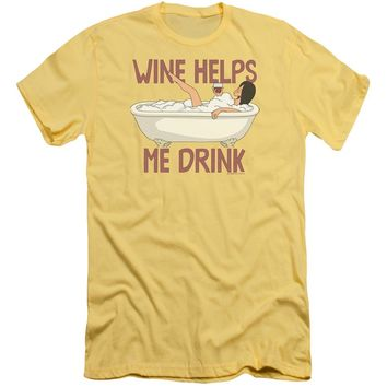 Bobs Burgers - Wine Helps Premium Canvas Adult Slim Fit 30/1 Shirt Officially Licensed T-Shirt