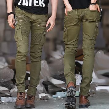 ArmyGreen Black Denim Biker jeans Men Skinny new Runway Distressed slim elastic homme hip hop Military motorcycle cargo pants