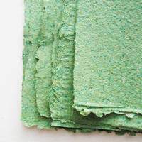 Handmade PAPER. GREEN 6 sheets of 8.5x11 inches. 90% Recycled paper with deckled edge. eco friendly