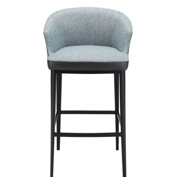 Beckett Bar Stool Blue Fabric