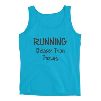 Running , Cheaper than Therapy - Funny Running Tank top