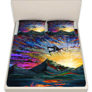 Colorful Wakeboarder Bedding / Sheets - Night Ride Artwork by Teshia