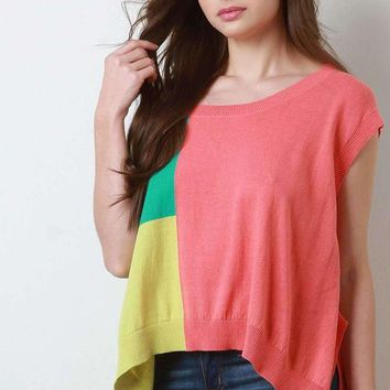 DCCKON3 Colorblock Cap Sleeves Boxy Side Slit Sweater