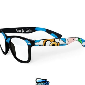 Adventure Time glasses unique hand painted - Finn and Jake