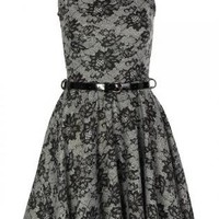 Floral Lace Sleeveless Skater Dress with Black Belt