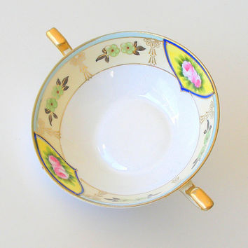 Morimura Noritake Cream Soup Bowl Antique 2 Handled Bowl Hand Painted Porcelain 1910