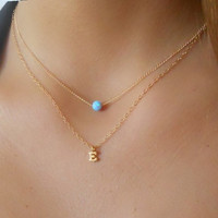Set of 2 Necklaces; Initial Necklace & Opal Necklace; Personalized Gold Necklace Set; Delicate Golg Necklace Set; Personalized Gift For Her