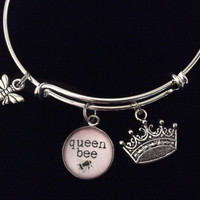 Queen Bee Crown Expandable Charm Bracelet Adjustable Silver Bangle Pink Gift