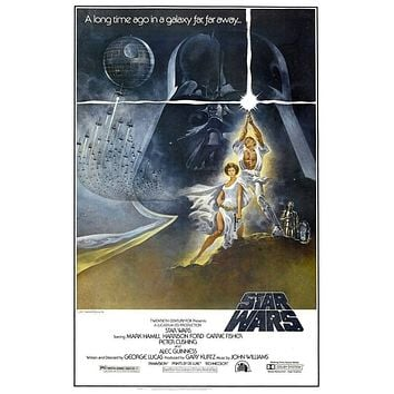 """Star Wars """"A New Hope"""" Framed Unsigned 27X40 Movie Poster Episode 4 IV Hamill Fisher Ford"""