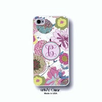 Floral Iphone case - Personalized Monogram Iphone 4, 4S, 5, 5s, 5c & Galaxy S3, S4 case - Colorful flowers (4010)