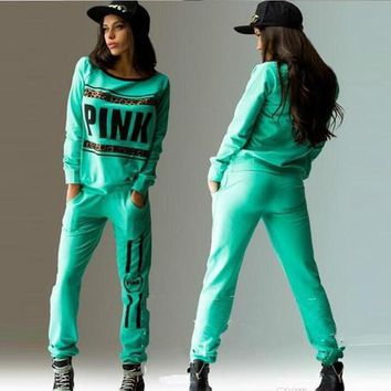 Hot sales Pink Sweat Suits Women Hooded Hoodie Set Loose Long Pant Suit Casual Autumn Letter Print Tracksuits Women Workout Outfits