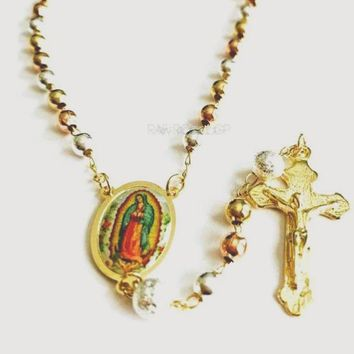 Tricolor Virgen de Guadalupe 18k Gold Plated 3mm Rosary