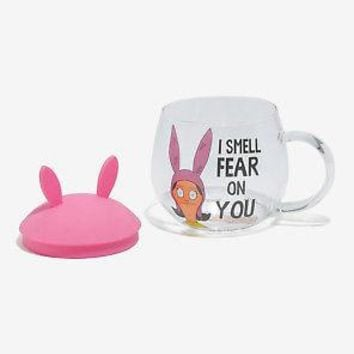 Licensed cool Bob's Burgers LOUISE Glass Mug Cup Removable Ears Hat Lid I Smell Fear On You
