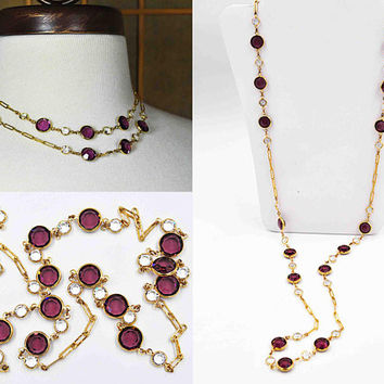 "Vintage Swarovski Crystal Bezel Necklace, Gold, Purple & Clear, 10mm Bezels, 34"" Long, Paper Clip Chain, Clasp, So Lovely!  #c237"