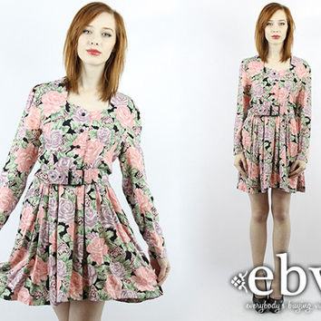 Vintage 80s Floral Secretary Mini Day Dress S M Floral Dress Secretary Dress Longsleeve Dress Babydoll Dress Work Dress Mini Dress