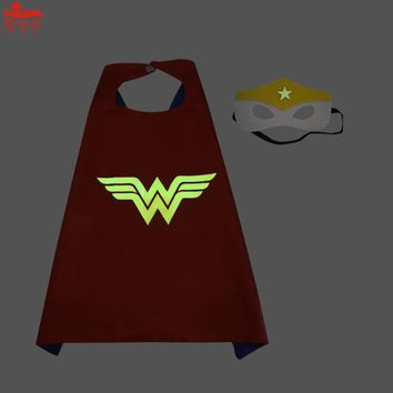 SPECIAL 70*70 cm Child luminous superhero capes wonder woman costume Halloween glow in the dark Captain America cosplay costume
