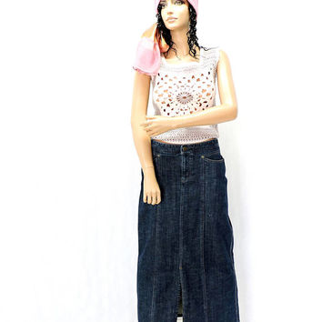 90s Eddie Bauer denim maxi skirt / size S / M  / 6 / 7 / long jean skirt / boho hippie western long denim skirt