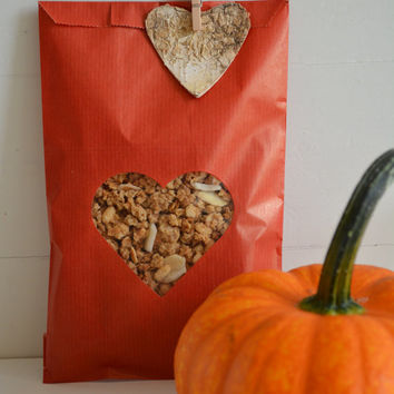 Red Kraft paper bag with a heart window set of 20 kraft bags complete with cellophane bag --- Wedding favor bags or for a sweet table