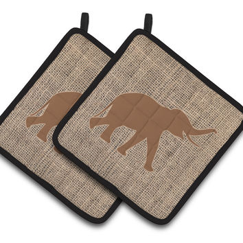 Elephant Faux Burlap and Brown   Pair of Pot Holders BB1011-BL-BN-PTHD