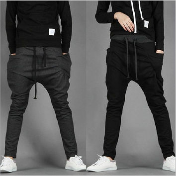 Men's Casual Slim Drawstring Printing Sport Harem Pants Slacks. = 1704374980