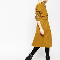 ASOS Coat with Trench Details in Wool at asos.com