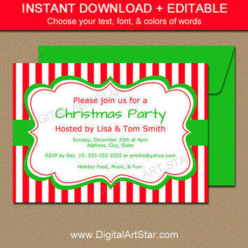 Printable Christmas Party Invitation - EDITABLE Xmas Invites, Holiday Party Invites - Red & White Stripes - Holiday Invitation Template CSV