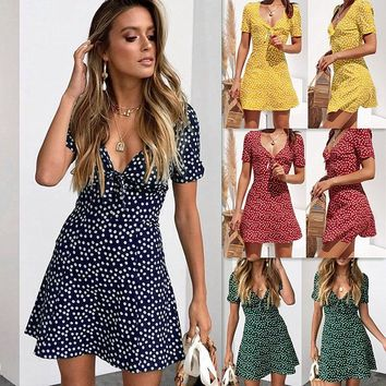 Spring and summer new fashion women's printed V-neck short-sleeved dress