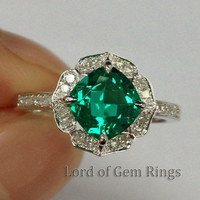 7mm Cushion Cut Emerald Vintage Floral Design HALO Diamond Engagement Ring 14K White Gold