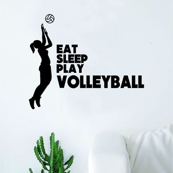 Eat Sleep Play Volleyball Wall Decal Sticker Vinyl Art Bedroom Room Home Decor Quote Ball Kids Teen Baby Boy Girl Nursery School Fitness Inspirational Beach