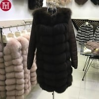 New Natural Real Fox Fur Coat Female Quality 2017 100% Real Fox Fur Overcoats Winter Women Long Style Genuine Real Fur Jacket