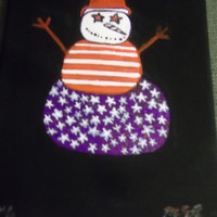 Red White and Blue Americana Stars and Stripes Snowman Canvas Acrylic Painting Holiday Art Patriotism