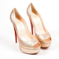 HCXX Gold Glitter Christian Louboutin   Lady 150mm   Peep Toe Platform Pumps