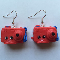 Shopkins Foodie Earrings - Best Dressed Cam Camera - repurposed toys