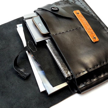 Black leather pouch for tablet case document book Pad iPad clutch personalized