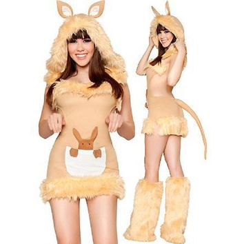 High Quality Sexy Kangaroo Costume Brown Cut Out Mini Dress Faux Fur Sexy Kangaroo Costume with Tail Warmer Leggings W418999