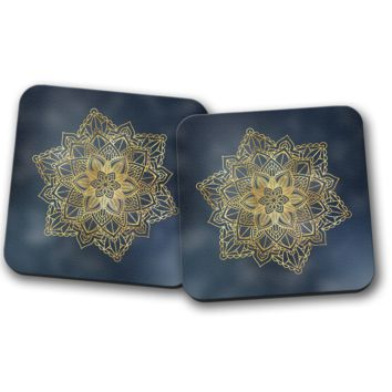 Mandala Gold and Navy Blue Design Set of Coasters, Home Decor, Kitchen Sets, Table Designs, 2 Coasters