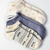 AEO Panda Shortie Socks 3-Pack , Light Heather