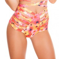 Daisy Print High Waist Strappy Shorts | Rave Clothing and Rave Outfits