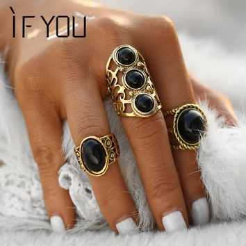 IF YOU 2 Colors Style Vintage Brinco Carved Flower Black Stone Lucky Power Midi Rings for Women Boho Jewelry Knuckle Bague 2017
