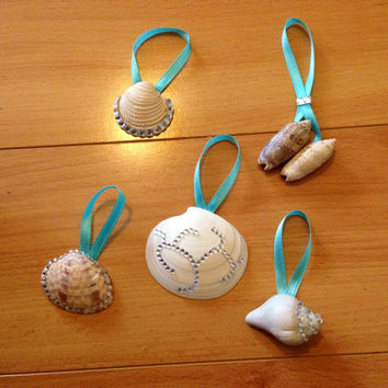 Bedazzled Seashell Ornaments - 5 Shells