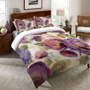 Blue and Purple Flower Song Duvet Cover
