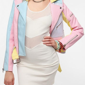Urban Outfitters - UNIF Pastel Rainbow Faux Leather Moto Jacket