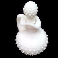 Vintage Avon White Milk Glass Cruet Hobnail Perfume Cologne Bottle 1970s Salad Cruet With Stopper Collectible Glass Decanter Milk Glass Gift